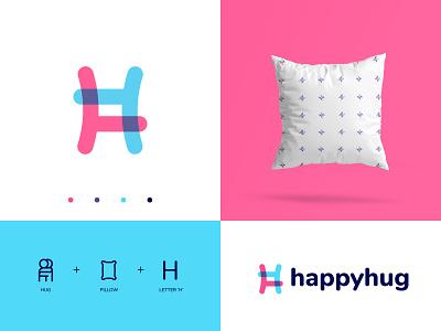 HappyHug Logo Concept h mark hug logo hugging pillow logo pillow mockup h logo pink logo happy happy logo logos wordmark typography branding logo logotype mark minimal