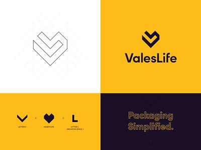 Valeslife logo life logo packaging packaging logo heart logo v logo yellow logomark wordmark monogram logos branding logo logotype mark minimal