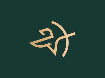 Archer minimal logo monogram logo mark minimal knight luxury logo luxury arrow warrior archery archer