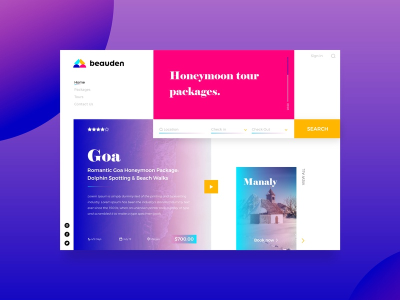 Beauden | Landing Page room booking romantic couples interface web abstract gradient landing page design landingpage website website design uidesign ui uiuxdesign colorful