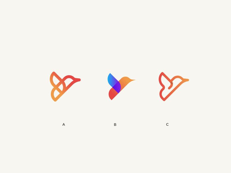 A, B,  or C ? vector flying bird gradient monogram birds sparrow flying logo illustration mark minimal bird logo bird