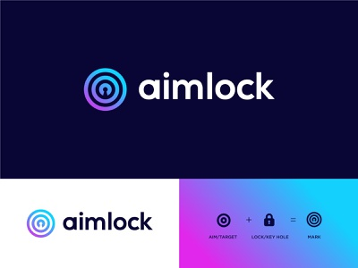 Aimlock Logo app key lock target aim logo mark clever logos branding typography logo logotype mark minimal