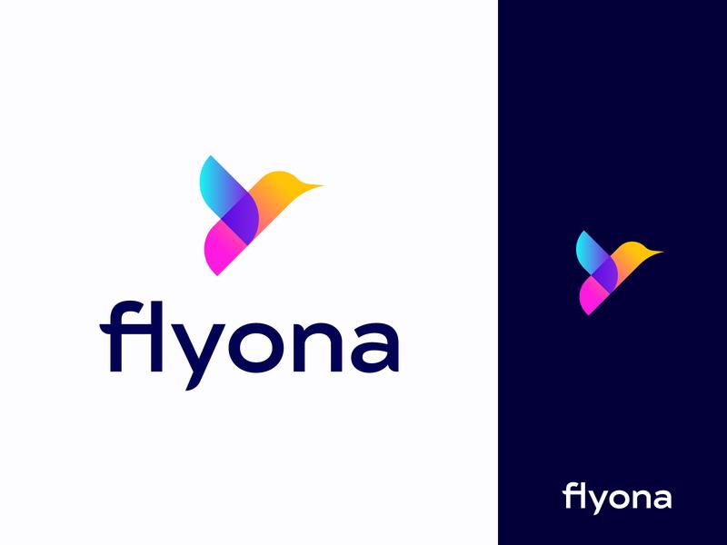 Flyona Logo birds flying fly flying bird sparrow colorful logo gradient gradient logo bird logo bird logotype mark minimal