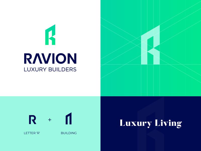 RAVION Logo luxury logo r logo home logo building logo building logos branding logo mark minimal