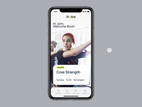 fititnime Studio App swipe card animated animation gym app fitintime fitness club fitness center booking schedule calendar notification neon ui design ui fitness app personal trainer studio gym app fitness