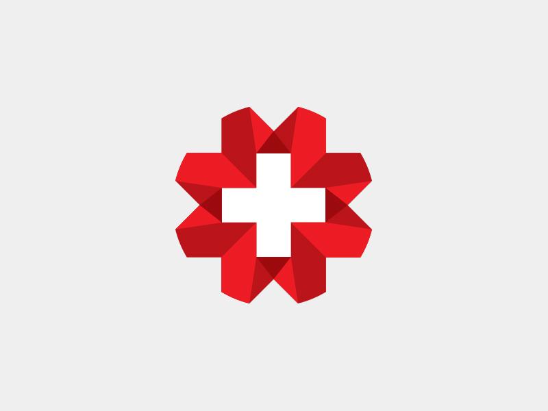 Swiss Cross Logo shadow 3d logomark icon switzerland white red ribbon logo cross swiss