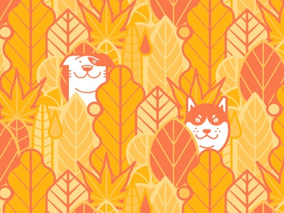 Dogs in autumn leaves graphic design autumn dogs illustration graphic