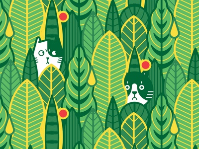 The cat is in the jungle