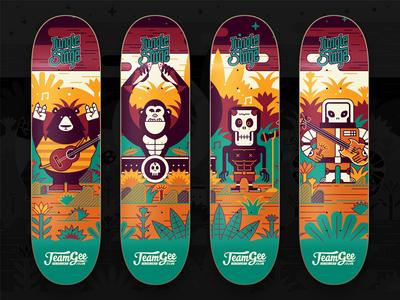 Jungle Stage music skateboard skull alien bear gorilla logo illustration character lettering graphic typography