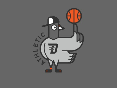 PIGEON basketball pigeon sports typeface lettering graphic
