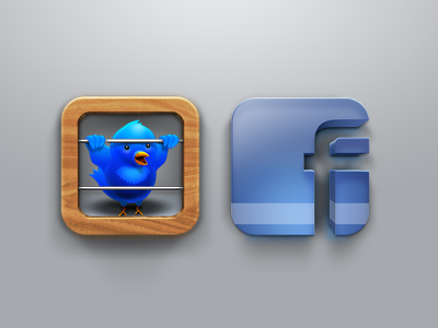 Twitter and Facebook twitter facebook icon app ios