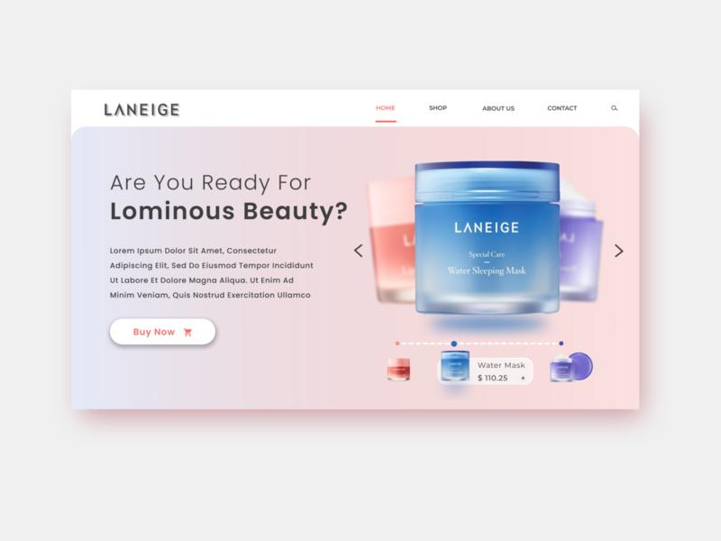 Redesign Landing page Laneige portfolio responsive laneige cosmetics redesignwebsite redesign app animation ux website logo web ui minimal typography design