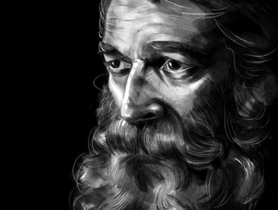 sad beard fine art illustration