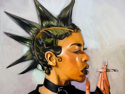 More Punk rock girl portrait corelpainter fine art illustration