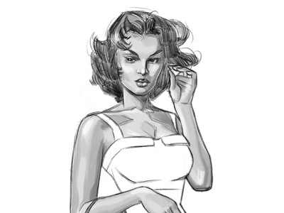 Still Sassy pinup fine art illustration