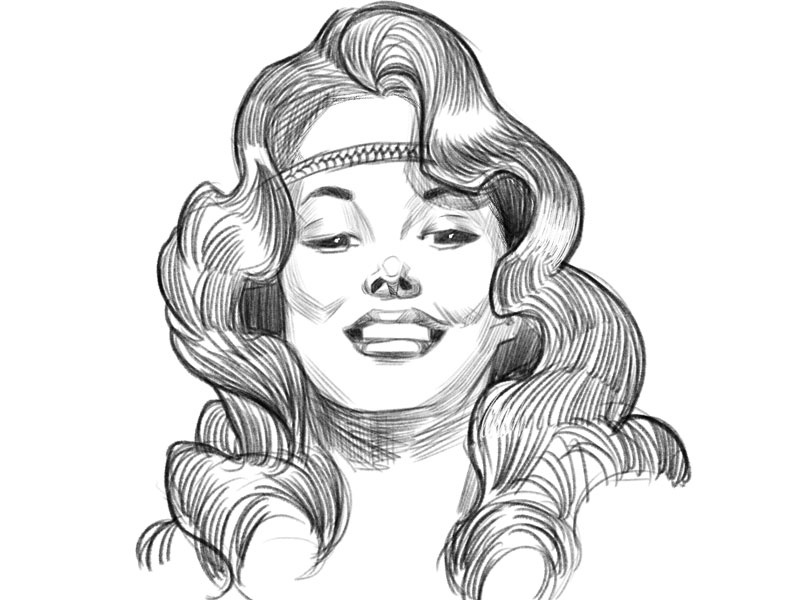 Face Study Miss Mary Jane branding pinup illustration