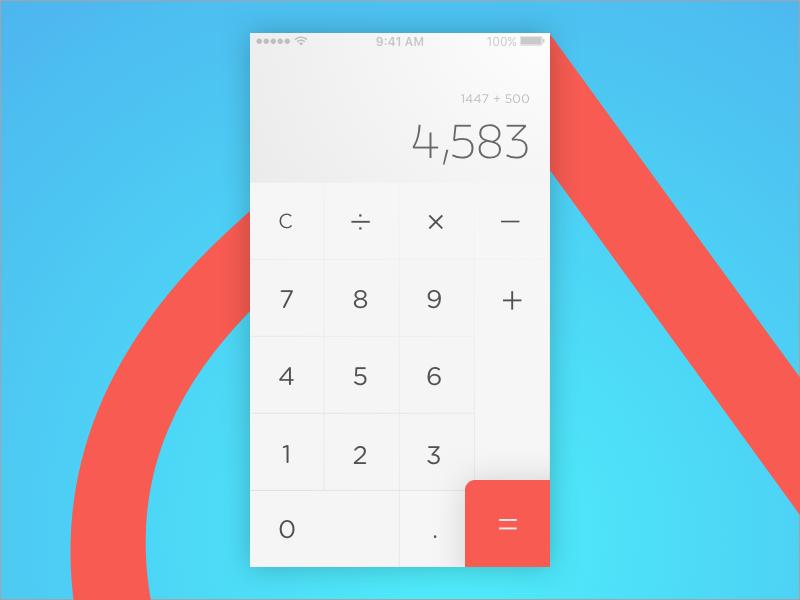 Calculator clean thin minimal minimalist calculator dailyui