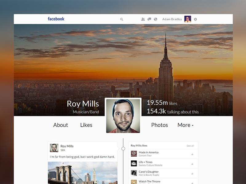 Facebook timeline facebook redesign ui concept timeline