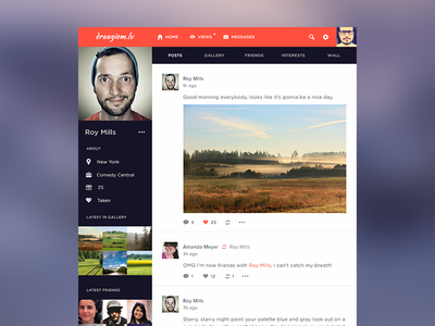 Draugiem.lv redesign draugiem.lv redesign concept flat dashboard web social network ui timeline