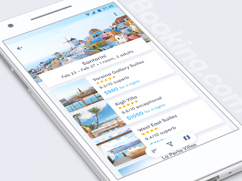 Booking hotel list makeitbetter concept ux ui android booking.com booking redesign app
