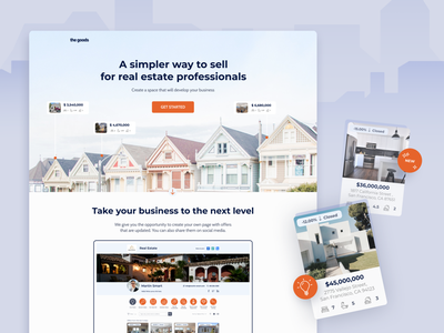 The Goods Redesign ux ui design photo get started product design redesign clients area real estate agency san francisco landing page features offer real estate
