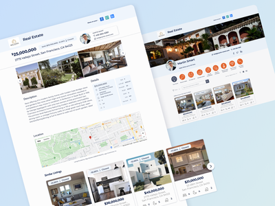 Redesign real estate system search real estate agent share clients similar listing profile profile page sort type filters design features ux ui redesign concept real estate system redesign