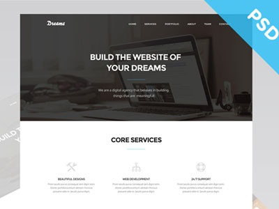 Dreams - One Page Web Template (Freebie) ui web design flat free psd