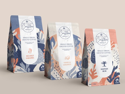 Coffee Packaging nautical coastal flat surface design surface pattern pattern design pattern coffee packaging coffee package design packaging illustration