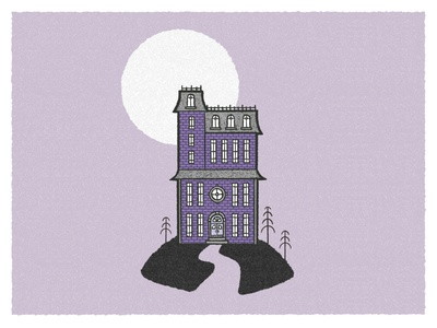 Halloween Postcard lilac purple flat postcard poster art lineart textured illustration texture retro spooky halloween illustration house illustration architecture halloween illustration