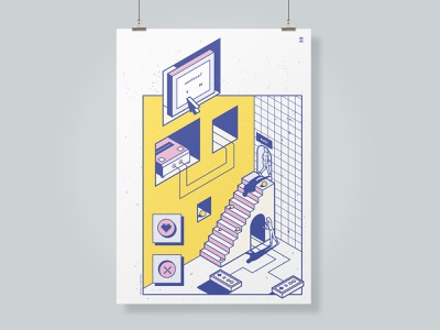 Poster Print isometric illustration pop art game art print poster gamer gaming outline retro isometric flat illustration