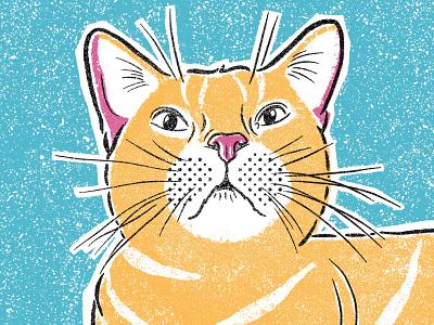 Cat Portrait halftone cat illustration illustrator procreate art sketch texture retro kitty cat screen printing screenprint procreate illustration