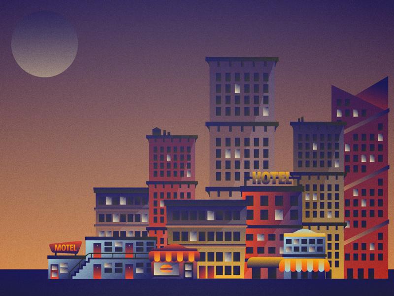 Moonlight lighting retro buildings gradient illustration