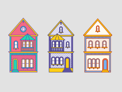 San Fran 2 houses bay area architecture pattern outline california sf san francisco travel illustration