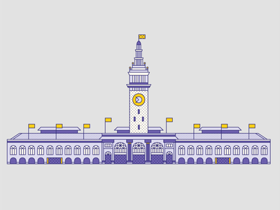 San Francisco Ferry Building pier sf bay area sf ferry building memphis retro travel outline flat illustration san francisco