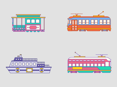 San Francisco Transport bay area san fran san francisco ferry cable car trams transport pattern memphis design memphis style memphis tourism retro outline flat travel illustration