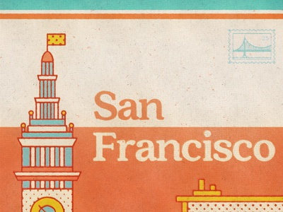 San Francisco Poser 2 outline poster art illustration texture retro travel poster travel california san fran san francisco poster