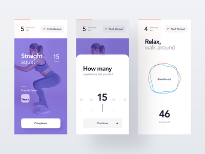 Workout App trainer health sport tracker activity wellness gym exercise fitness training design ios mobile clean minimal interface app ux ui workout