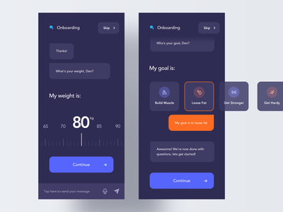 Fitness App Chatbot ui ux app interface minimal clean ios mobile dark night mode chat chatbot onboarding modern card icon messenger conversation messages communication
