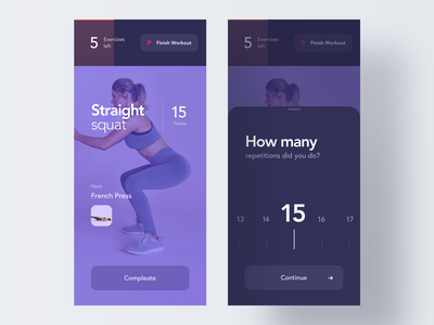 Dark Fitness App tracker fat fit body simple layout running trainer yoga night dark mobile design ios clean minimal interface app ux ui