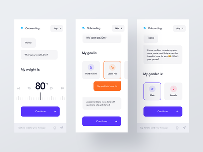 Onboarding Chatbot conversation chatbot virtual trainer welcome comunication message blue orange simple chat onboarding ios mobile clean minimal interface app ux ui