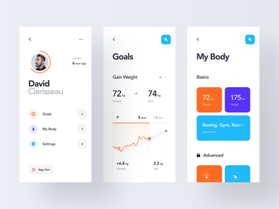 Workout Goals graph chart account icon dashboard statistics stats settings simple modern profile body ios mobile clean minimal interface app ux ui