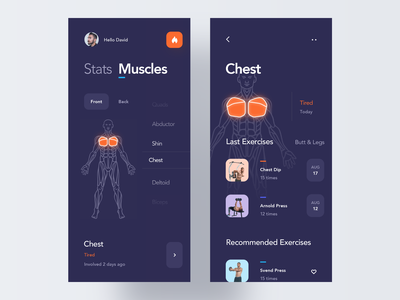 Muscles Condition activity tracker health gym fitness concept dark neon night mode body graphic design ios mobile clean minimal interface app ux ui