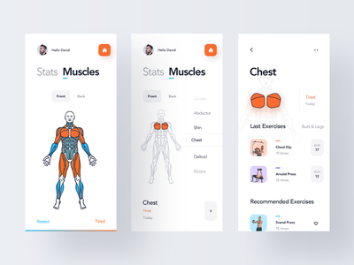 Muscles Condition Heatmap design typography simple workout fitness training gym heatmap graphic excercise running health ios mobile clean minimal interface app ux ui