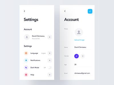 App Settings simple interaction night mode dark theme 3d animation light design profile icons product design settings ios mobile clean minimal interface app ux ui