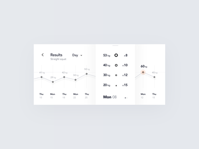 Exercise Results Experience case study behance graph prototype microinteractions micro-interaction chart statistics motion interaction product design animation ios mobile clean minimal interface app ux ui