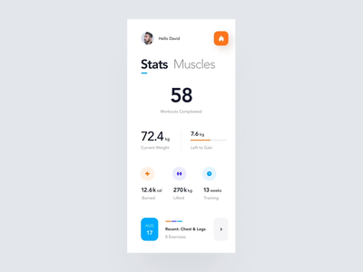 Muscles Condition Overview workout animation interaction casestudy behance product design gym muscles body health tracker motion ios mobile clean minimal interface app ux ui