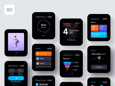 WatchOs App Overview motion interaction gym training fitness sport workout case study wearable watchos watch design animation mobile clean minimal interface app ux ui