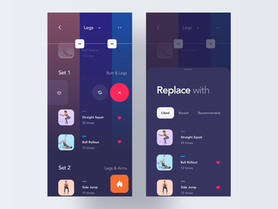 Replace Exercise Interaction concept exercise gym fitness design case study workout gesture motion interaction product design mobile animation ios clean minimal interface app ux ui