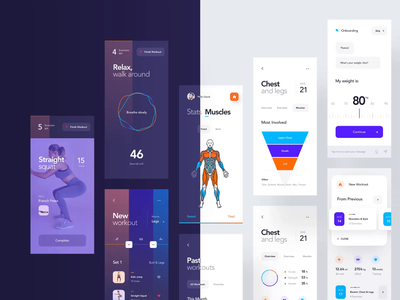 Workout App Light/Dark workout productdesign design layout grid casestudy behance night mode dark mode dark theme dark animation ios mobile clean minimal interface app ux ui