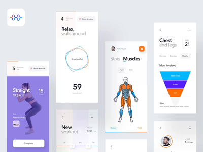 Fitness App Case Study behance sport exercises gym fitness workout design case study animation motion concept interaction ios mobile clean minimal interface app ux ui